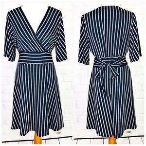 Wrapper Striped Midi Dress